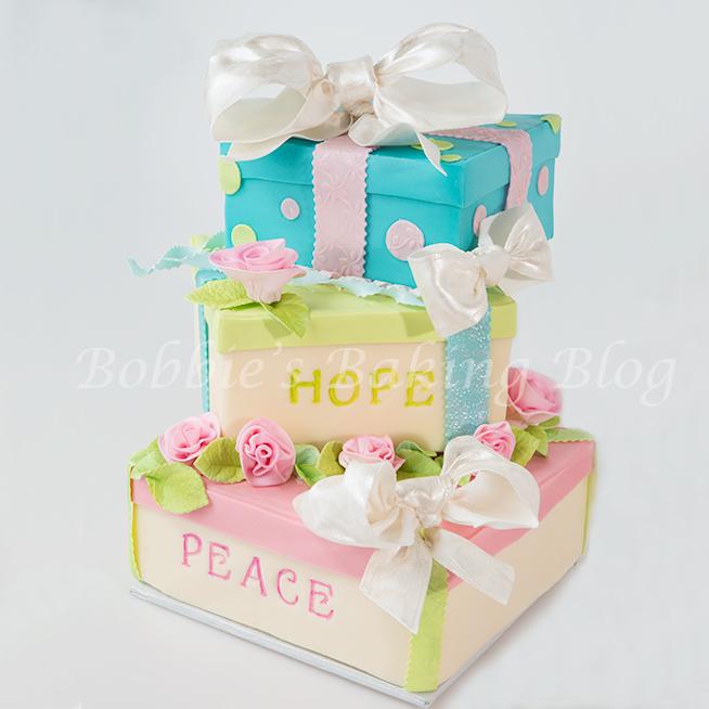 Whimsical New Year 2014 Gift Box Cake