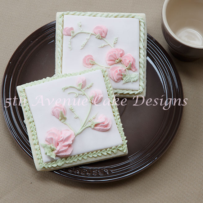 Sweet Pea Spray Piped on Fondant