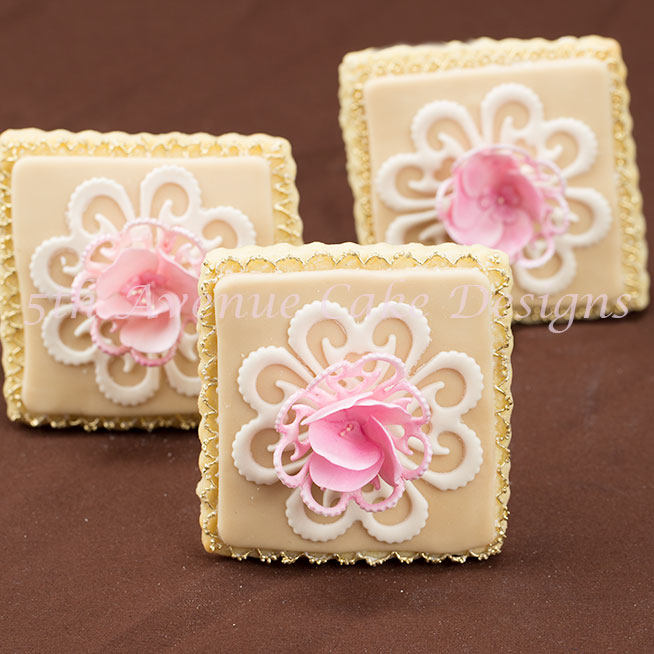 Vintage Lace Blooming Garden Rose Wedding Cookie