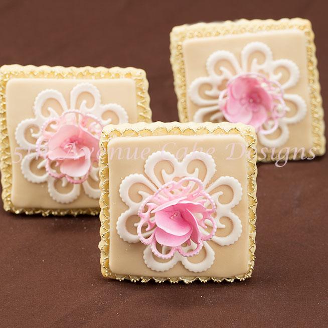 Vintage Lace Blooming Garden Rose Wedding Cookie