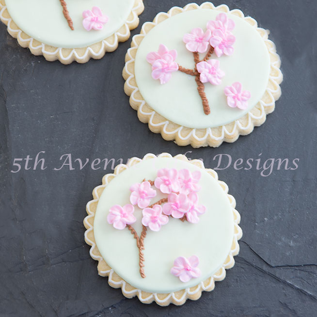 Springtime Royal Icing Cherry Blossoms on a Cookie
