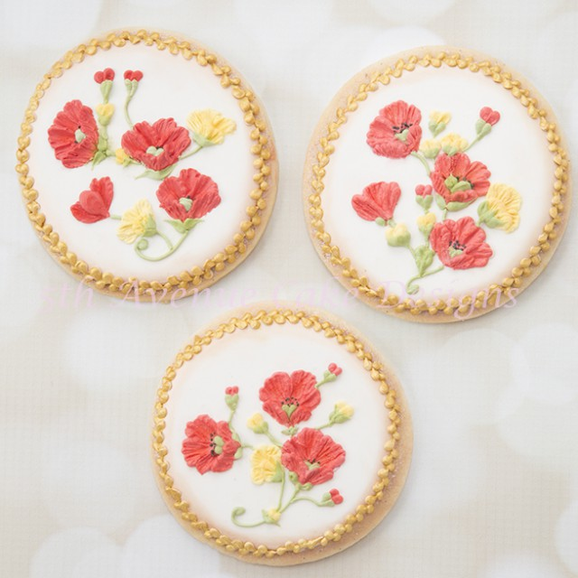 Decorate with Brush Embroidery Poppy Cookies