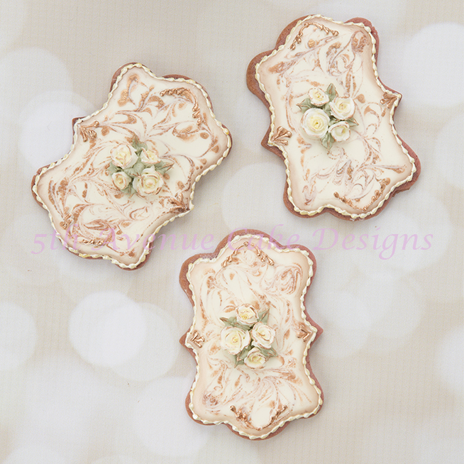Royal Icing Antique Marbled Cookies with a Piped Roses Spray