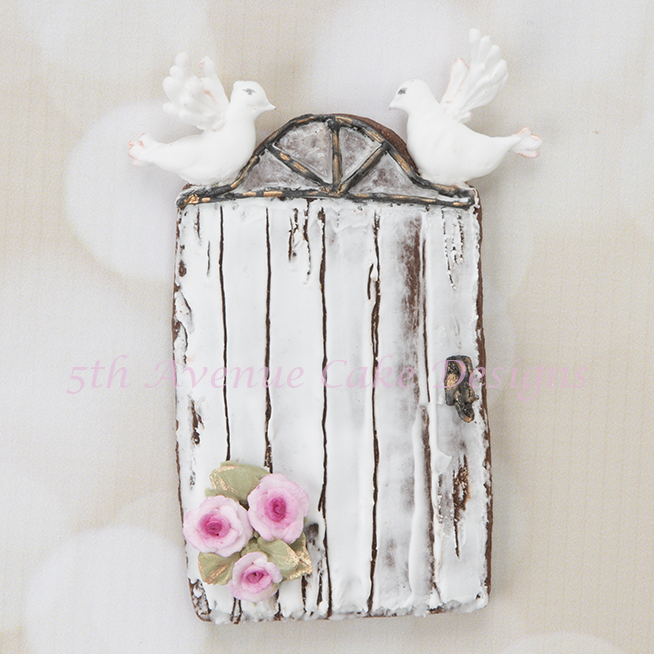 Rustic Door with Wood Grain Royal Icing Cookie