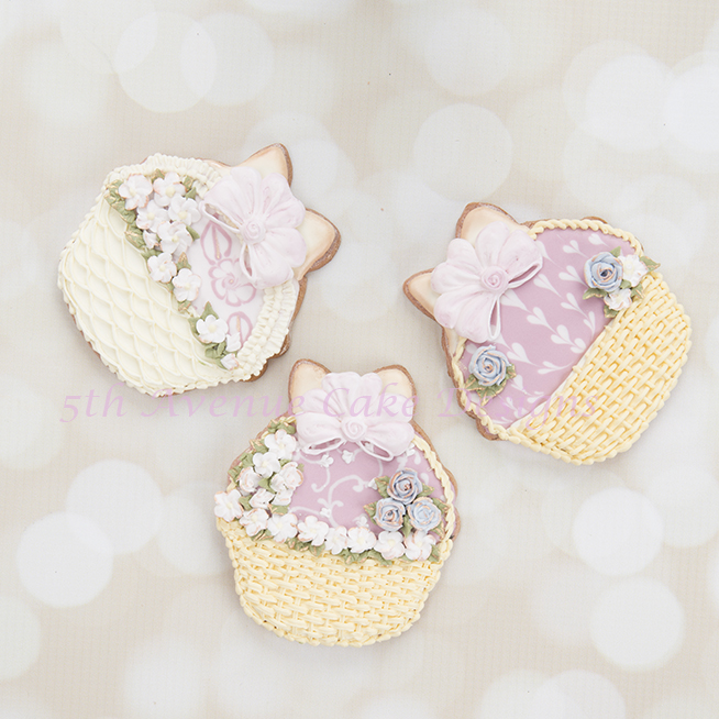 Floral Basket Cookies with 3 Different Designs