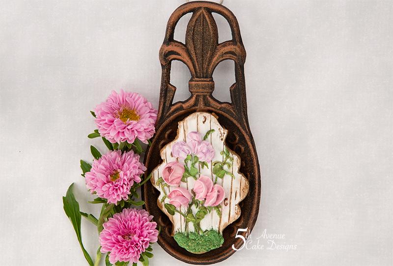 Rustic Sweet Pea Flower Cookie