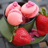 Rose-Strawberry Macaron Macaron with Strawberry Creme filling
