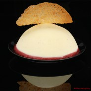 A Birthday Gift: Tangy Rose-Vanilla Bean- Panna Cotta with Red Current Coulis Gel