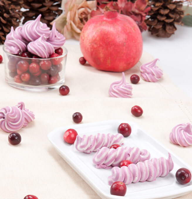 I am Sending Cranberry-Pomegranate Meringue Kisses