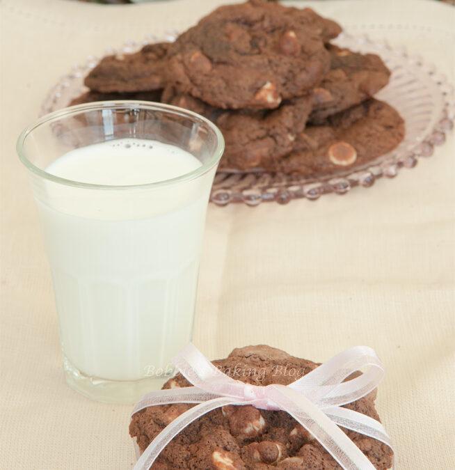 Triple Chocolate Chunk Macadamia Cookies