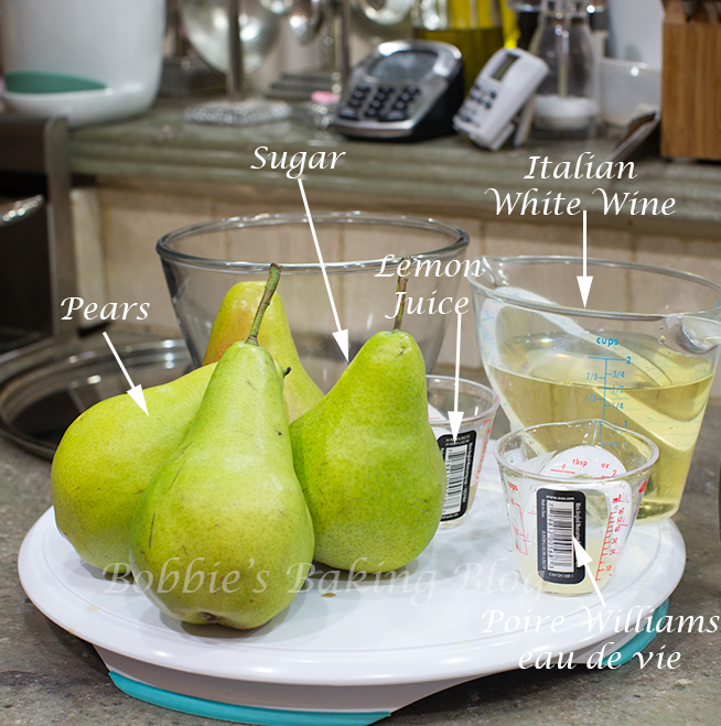 Poached pears Poire williams eau de vie