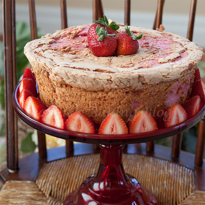heart shaped strawberry angel food cake
