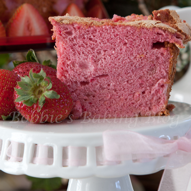 A moist fat free valentine's strawberry angel food cake