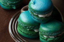 Mint-Strawberry Macarons
