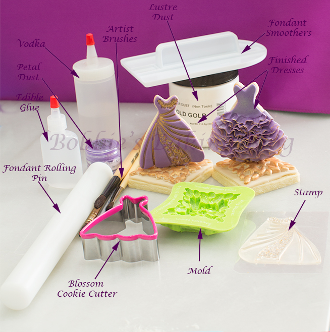 learn the how to ruffle fondant/gumpaste & royal icing ombre dress
