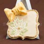 Poinsettia Brush Embroidery Sugar Cookie Card