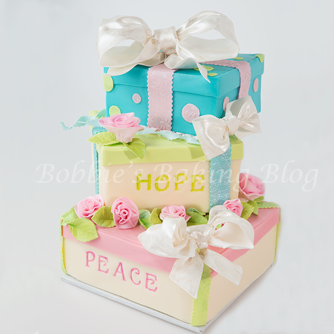 Whimsical New Year 2014 Gift Box Cake