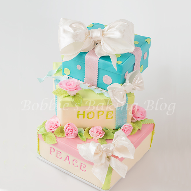 Whimsical new year 2014 gift box cake bobbies baking blog how to make a tiered gift box cake negle Image collections