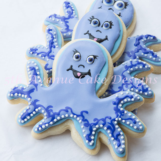 Baby shower octopus cookies by Bobbie Noto